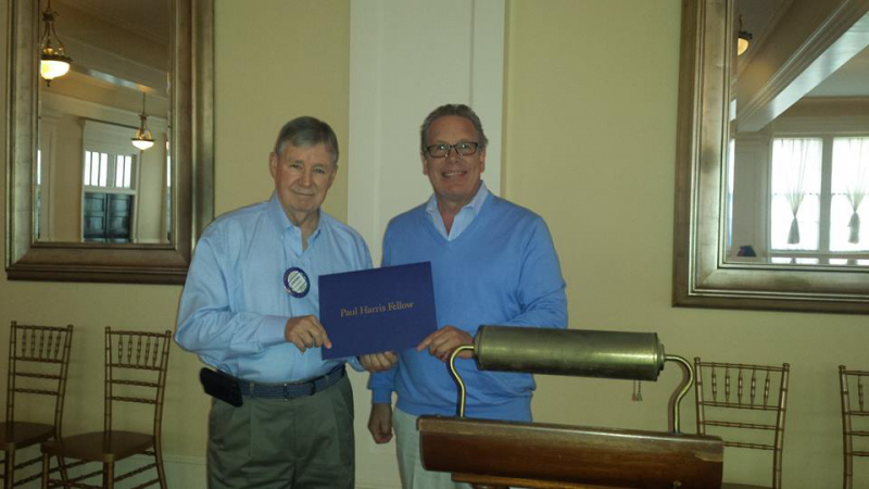 James Baum receives Paul Harris Fellow Recognition by Foundation Chair Marc McKenna